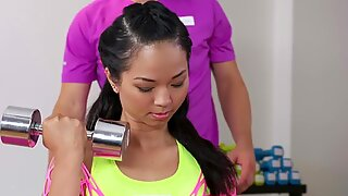 Fitness apartments steamy Thai babe gets deep anal creampie exercise from big cock