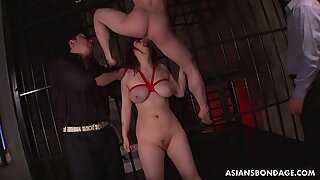 Asian babe with big natural tits loves being gangbanged